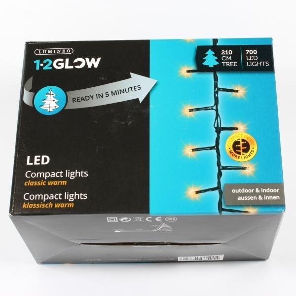 '1-2-Glow'-Kette mit 700 LED-Lichtern für 2,1-mtr-Baum