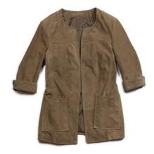 Cardigan mit 'dreiviertel Ärmel', Ziegenvelour, burnt olive, bei Lederbekleidung Paschinger kaufen