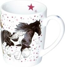 Porzellan-Tasse ''Pinke Punkte''  Pferdefr