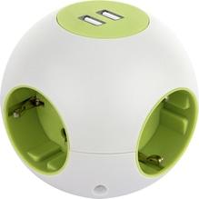 Kugelsteckdose 'Powerglobe' mit USB  -  weiß-grün