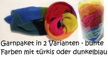 Garnpaket für lustigen, farbenfrohen Schal aus Kid Seta, Kid Mohair und Seide