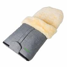 Baby Fußsack aus 100% echtem Lammfell, Farbe black-melange, teilbar, wind- und wasserabweisend. Bei Lederbekleidung Paschinger kaufen