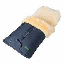 Baby Fußsack aus 100% echtem Lammfell, Farbe marine, teilbar, wind- und wasserabweisend. Bei Lederbekleidung Paschinger kaufen