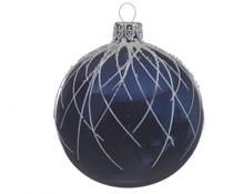 Dekor-Glaskugeln 'Bogenlinie' nachtblau 8 cm, Karton mit 6 Stück