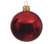 Uni-Glaskugeln 'weihnachtsrot glänzend' 6 cm, Karton mit 6 Stück