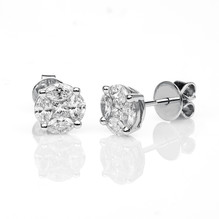 Diamantohrstecker 18 kt WG, 2 Princess, 8 Navette