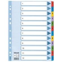 Esselte Register 100162 1-12 DIN A4 Mylar weiß