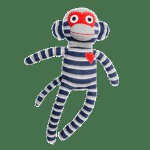 Kuscheltier Sockenaffe Midi Streifen blau/grau