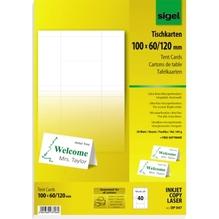 Sigel Tischkarte DP047 100x60cm 185g hochweiß 40 St./Pack.