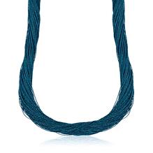 Synthetisches Seiden-Collier in Atlantik-blau mit Magnetverschluß aus Stahl