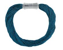 Synthetisches Seiden-Armband  Atlantik-blau  mit Magnetverschluß aus Stahl