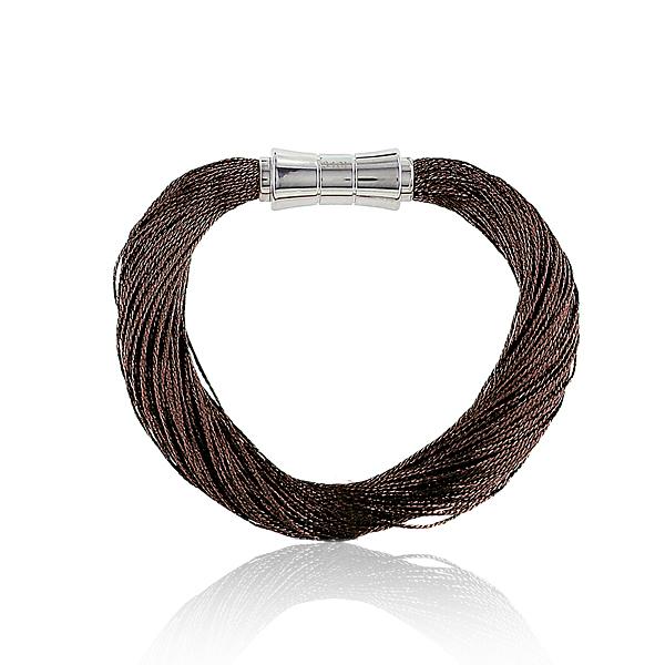 Synthetisches Seiden-Armband  dunkelbrun  mit Magnetverschluß aus Stahl