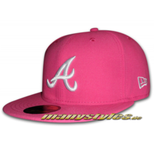 Atlanta braves mlb basic cap beetroot white pink white