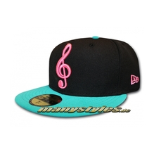 Unlicensed Cap Music Note Black Teal Pink exclusive