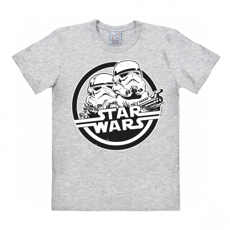 Star Wars T-Shirt - Storm Trooper Heather Grey Black White