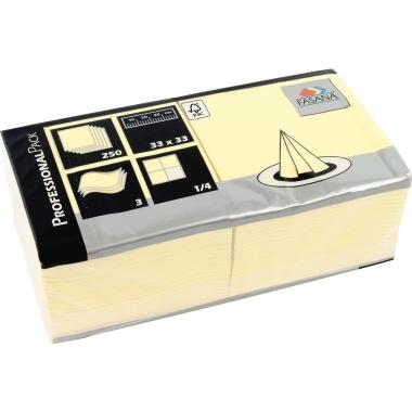 FASANA Serviette 217739 33x33cm 3lagig creme 250 St./Pack.