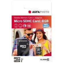 AgfaPhoto Speicherkarte MicroSDHC 10579 Class 10 UHS-1 8GB +Adapter