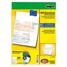 Sigel Überweisung ZV570 DIN A4 für InkJet/Laser-Drucker 100 Bl./Pack.
