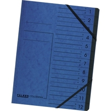 Falken Ordnungsmappe 11288099 DIN A4 12Fächer Karton blau