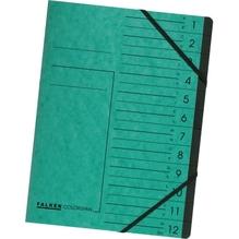 Falken Ordnungsmappe 11288214 DIN A4 12Fächer Karton grün