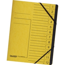 Falken Ordnungsmappe 11288222 DIN A4 12Fächer Karton gelb