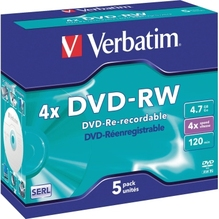 Verbatim DVD-RW 43285 4x 4.7GB 120Min Jewelcase 5 St./Pack.