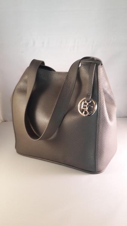 Damen-Leder-Handtasche, Nappaleder, Farbe: grau