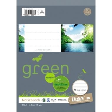 Ursus Schreibblock Ursus Green 03654810 DIN A5 lin. 70g 48Bl