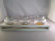 Holz-Tablar mit 3 Windlichtern/Vasen