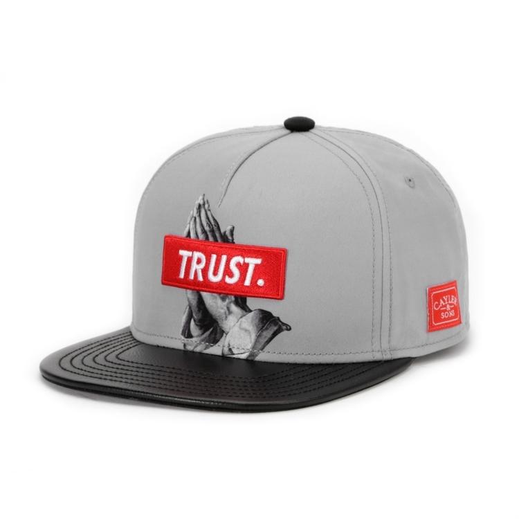 Cayler & Sons Snapback Cap Trust Grey Black Leather Visor