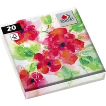 FASANA Serviette 219148 33x33cm 3lagig Red Poppy 20 St./Pack.