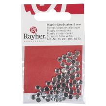 Plastik-Strasssteine, 5 mm ø, SB-Btl. 60 Stück, bergkristall