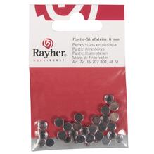Plastik-Strasssteine, 6 mm ø, SB-Btl. 48 Stück, bergkristall