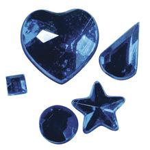 Acryl-Strasssteine zum Aufkleben, 3-12 mm, 5 Sorten, SB-Btl 58Stück, d.blau