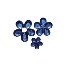 Acryl- Strassblüten, 5,8,10mm, SB-Btl 310Stück, d.blau
