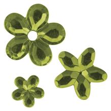 Acryl- Strassblüten, 5,8,10mm, SB-Btl 310Stück, h.grün