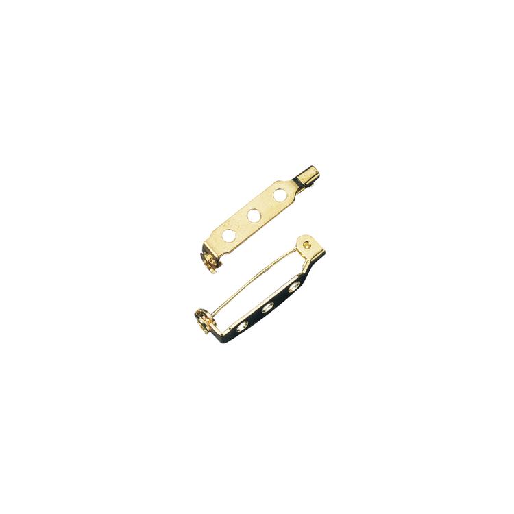 Broschennadel mit Steg und SV, 38mm, SB-Btl 4Stück, gold