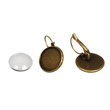 Metall- Fassung: Ohrring, 1,7cm ø, m. Cabochon, SB-Btl 1Paar, altgold