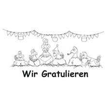 Clear-Stamps, Hühner - Wir gratulieren, 12 x 5,5cm, SB-Btl. 1 Motiv