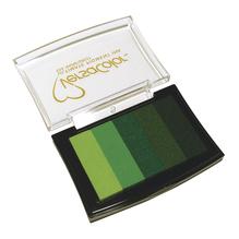 Stempelkissen Versacolor, 5 Farben, Stempelfläche 4,7x7,5 cm, Grün-Töne