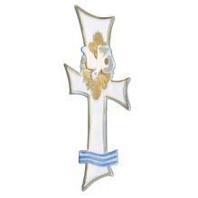 Wachsmotiv für Taufkerze, 17 cm, SB-Btl. 1 Stück, weiß/gold/hellblau