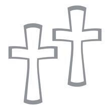 Klebemotiv: Kreuz, Bogen 10x23 cm, SB-Btl. 1 Stück, silber