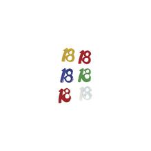 Kunststoff Jubiläums-Pailletten 18, 5 Farben sortiert, SB-Btl 12g, gemischt