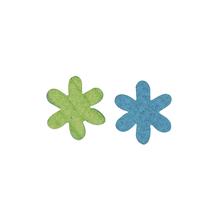 Filz-Sternblume, 3 cm, 2 Farben, SB-Btl. 12 Stück, blau/grün