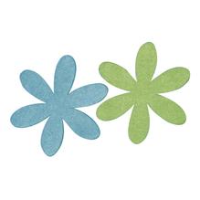 Filz-Margarite, 6+9 cm, 2 Farben, SB-Btl 4Stück, blau/grün
