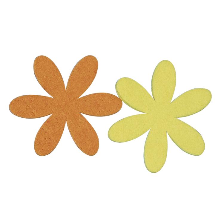 Filz-Margarite, 6+9 cm, 2 Farben, SB-Btl 4Stück, gelb/orange