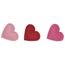 Filz-Herzen, 3 cm, SB-Btl. 24 Stk, 4 Rot-/Pinktöne , gemischt