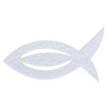 Filz Manschette für Servietten Fisch, 13,5x7,5x0,2cm, SB-Btl 6Stück, weiß
