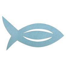 Filz Manschette für Servietten Fisch, 13,5x7,5x0,2cm, SB-Btl 6Stück, hellblau