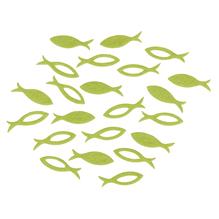 Filz Streuteile Fisch, 3,5x1x0,2cm, 2 Sorten , SB-Btl 36Stück, lindgrün